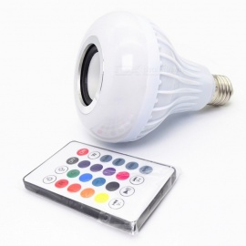 E27 12W 7-Color Changing Bluetooth Music LED Bulb with Remote Control