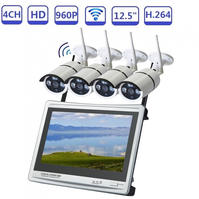 Strongshine 4CH 12.5 960P H.264 NVR w/ 4Pcs 1.3MP Wi-Fi IP Cameras, Waterproof P2P Home Security Surveillance Kit - EU PlugNVR Cards &amp; Systems<br>ColorSilver GreyPower AdapterEU PlugModelST-NVR9412NMWKITS-1.3MPMaterialMetal + PlasticQuantity1 DX.PCM.Model.AttributeModel.UnitSystem ResourcesMulti-channel real-time recording synchronously,Multi-channel real-time playback,USB back upOperating SystemWindows 7,Android 3.0,Android 3.1,Android 3.2,Android 4.0,Linux,Windows 8,iOSRemote MonitoringNoPower AdaptorYesPower SupplyOthers,DC12VMobile Phone PlatformAndroid,iOSWorking Temperature-20~50 DX.PCM.Model.AttributeModel.UnitWorking Humidity10%~90%Video StandardsH.264Decode FormatH.264Multi-mode Video InputWIRED WIRELESSMotion DetectionYesAudio Compression FormatAACAudio Input4 channelsAudio  Output1 ChannelVideo Input4 channelsVideo Output4 channelsMonitor Quality4*720P;4*960PPlayback Quality4*960H;4*720P;4*960PEncode CapabilityH.264Decode CapabilityH.264Record ModeManual,Alarm,Motion DetectionVideo SearchTime,Date,Channel SearchStorageNoVideo StorageLocal HDD,NetworkBack up ModeNetwork backup,USB portable,HDDUSBUSB 2.0HDD PortSATAPacking List1 x WIFI 4CH 12.5 inch LCD Wireless NVR 1 x Power supply for NVR1 x Mouse for NVR 4 x 960P WIFI IP Cameras4 x Power supply for WIFI IPC1 x User manual of NVR1 x Screw and other parts<br>