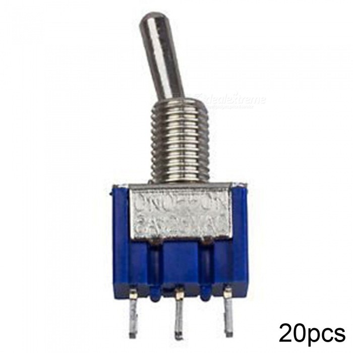 RXDZ 20pcs Blue Three Positions 3-Pin SPDT ON-OFF-ON Mini Toggle Switch 6A AC125VSwitches &amp; Adapters<br>ColorSilverQuantity20 DX.PCM.Model.AttributeModel.UnitMaterialMetal plasticPower Range125VMax. Current6AWorking TemperatureNO DX.PCM.Model.AttributeModel.UnitCertificationNOPacking List20 x Switches<br>