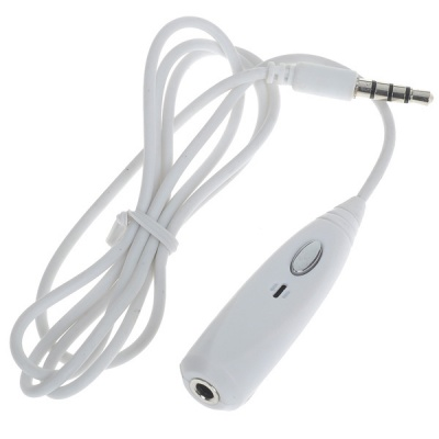 3.5mm Headphone/Headset Adapter with Mic - White (70cm)