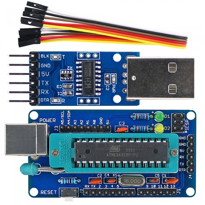 OPEN-SMART DIY ATmega328P Development Board + CH340 USB to TTL Programmer for Arduino UNO R3Boards &amp; Shields<br>ColorBlueModelN/AQuantity1 setMaterialPCB + Alloy + PlasticEnglish Manual / SpecYesDownload Link   http://drive.google.com/drive/folders/0B6uNNXJ2z4CxTGJ5M2FiYUpBNlU?usp=sharingPacking List1 x Board1 x CH340 module1 x 6P cable (20cm)<br>