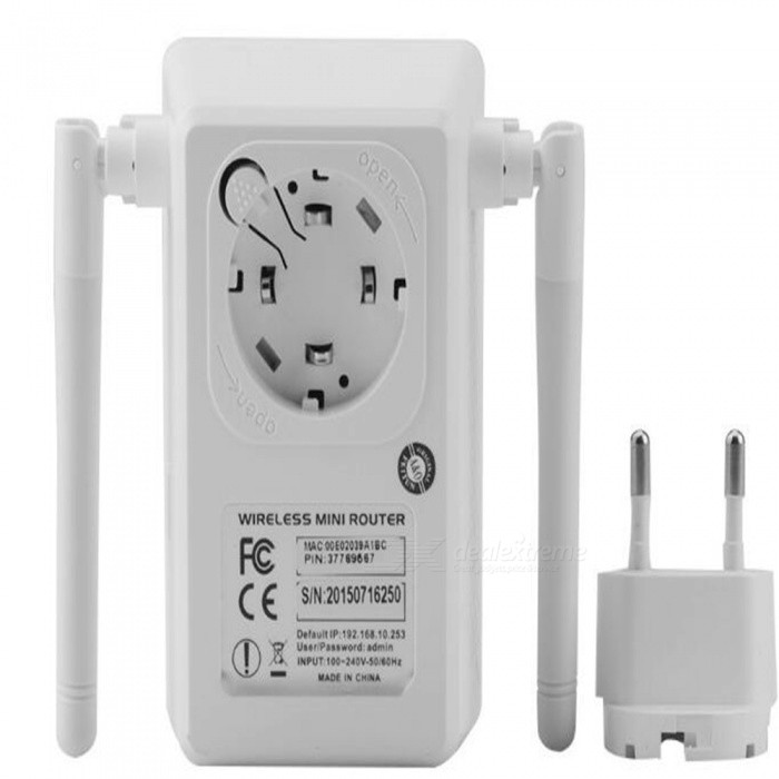 Portable 750Mbps Wireless Wi-Fi Dual Band Repeater w/ Dual Antenna - WhiteRouters<br>ColorWhiteModelLV-AC02Quantity1 DX.PCM.Model.AttributeModel.UnitMaterialABSShade Of ColorWhiteTypeRouterUI LanguageEnglishSupport DD-WRTYesPacking List1 x Wireless-N Repeater (US plug)1 x RJ45 Networking Cable.1 x English Installation Guide.<br>