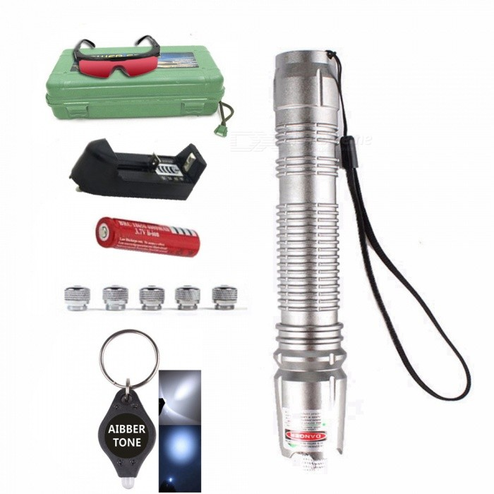 AIBBER TONE Green Laser Pen Pointer with 18650 Battery and Charger + Glasses + 5Pcs Star Caps, LED Keychain, BoxLaser Pointer<br>ColorSilverModel019Quantity1 DX.PCM.Model.AttributeModel.UnitMaterialCopper, AluminumLaser Power&gt;5 DX.PCM.Model.AttributeModel.UnitWave Length532 DX.PCM.Model.AttributeModel.UnitLaser ColorGreenWorking Voltage   3.7 DX.PCM.Model.AttributeModel.UnitBattery1x18650Packing List1 x Laser pointer 1 x 18650 Battery1 x Charger 5 x Star caps1 x Glasses 1 x AIBBER TONE led key chain1 x Box<br>