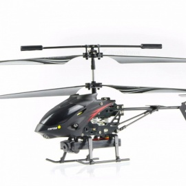 S977 Portable Folding 3.5CH Radio Remote Control Metal RC Helicopter Toy with 1.3MP Camera, Gyro for Kids Black