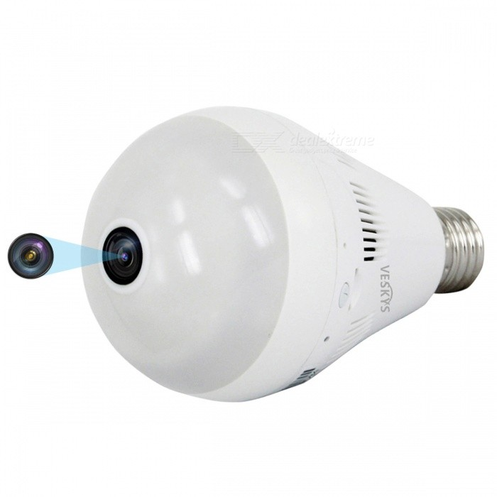 VESKYS 1536P 360 Degree Fish Eye Lens 3.0MP Wireless Wi-Fi Panorama Lamp Bulb Shape lnfrared And White Light IP CameraIP Cameras<br>ColorWhiteModelN/AMaterialAlloy + ABSQuantity1 DX.PCM.Model.AttributeModel.UnitImage SensorCMOSLensOthers,1.44mm fisheye lensPixels3.0MPViewing AngleOthers,360 DX.PCM.Model.AttributeModel.UnitVideo Compressed FormatH.264Picture Resolution2048*1536Frame Rate25FPSInput/OutputBuilt-in microphone / AudioAudio Compression FormatOthers,G.711Minimum Illumination0.1 DX.PCM.Model.AttributeModel.UnitNight VisionYesIR-LED Quantity3Night Vision Distance10 DX.PCM.Model.AttributeModel.UnitWireless / WiFi802.11 b / g / nNetwork ProtocolTCP,IP,UDP,HTTP,SMTP,uPnP,PPPoESupported SystemsOthers,NOSupported BrowserOthers,NOSIM Card SlotNoOnline Visitor5IP ModeDynamicMobile Phone PlatformAndroid,iOSSmart AlarmMotion detectingFree DDNSYesIR-CUTYesBuilt-in Memory / RAMNoLocal MemoryYesMemory CardTFMax. Memory Supported128GBMotorNoSupported LanguagesEnglish,Simplified ChineseWater-proofNoIntercom FunctionYesPacking List1 x 360 Degree IP Camera 1 x User Manual<br>