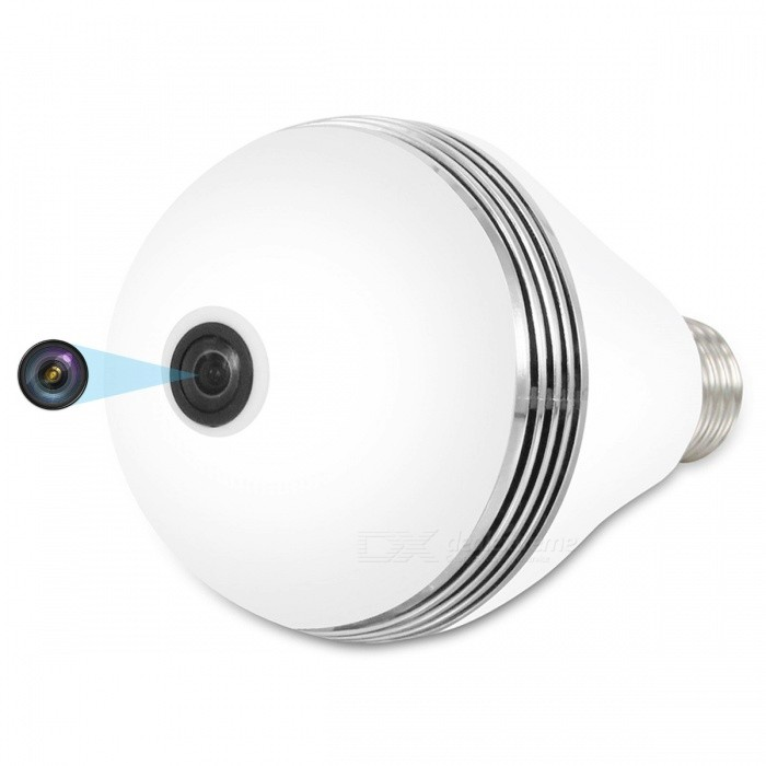 VESKYS 1536P 3.0MP 360 Degree Fish Eye Lens Wireless Wi-Fi Full View Light Bulb Shape lnfrared And White Light IP CameraIP Cameras<br>ColorWhiteModelN/AMaterialAlloy + ABSQuantity1 DX.PCM.Model.AttributeModel.UnitImage SensorCMOSLensOthers,1.44mm fisheye lensPixels3.0MPViewing AngleOthers,360 DX.PCM.Model.AttributeModel.UnitVideo Compressed FormatH.264Picture Resolution2048*1536Frame Rate25FPSInput/OutputBuilt-in microphone / AudioAudio Compression FormatOthers,G.711Minimum Illumination0.1 DX.PCM.Model.AttributeModel.UnitNight VisionYesIR-LED Quantity3Night Vision Distance10 DX.PCM.Model.AttributeModel.UnitWireless / WiFi802.11 b / g / nNetwork ProtocolTCP,IP,UDP,HTTP,SMTP,uPnP,PPPoESupported SystemsOthers,NOSupported BrowserOthers,NOSIM Card SlotNoOnline Visitor5IP ModeDynamicMobile Phone PlatformAndroid,iOSSmart AlarmMotion detectingFree DDNSYesIR-CUTYesBuilt-in Memory / RAMNoLocal MemoryYesMemory CardTFMax. Memory Supported128GBMotorNoSupported LanguagesEnglish,Simplified ChineseWater-proofNoIntercom FunctionYesPacking List1 x 360 Degree IP Camera 1 x User Manual<br>