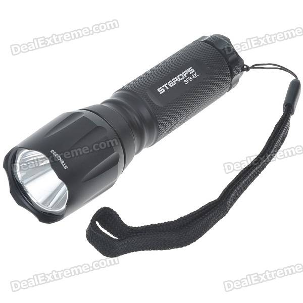 STEROPS SFB-8K CREE Q5 3-Mode 200-Lumen White LED Flashlight with Strap (3*AAA)