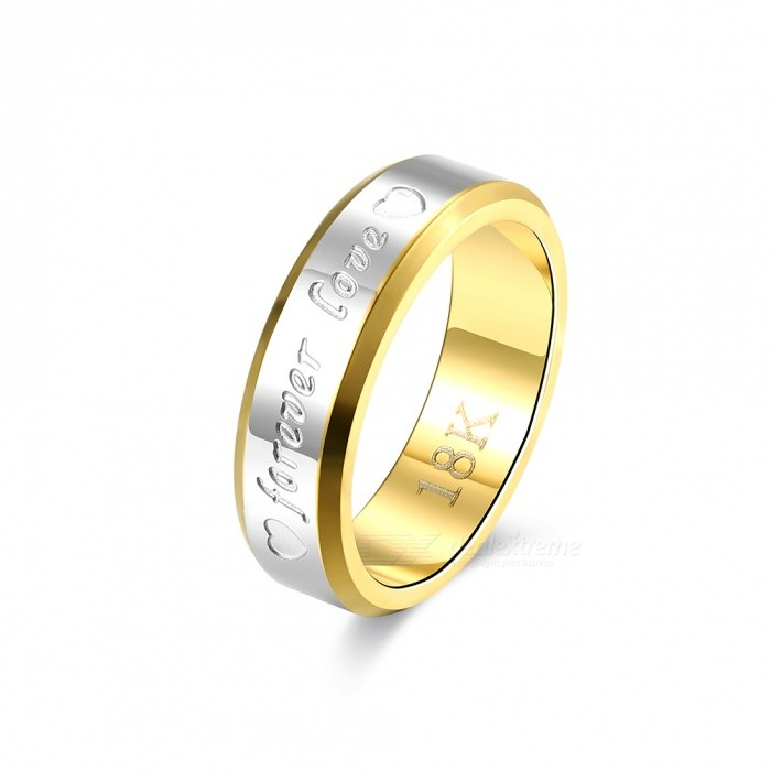 Engagement Gold Silver Plated Forever Love Letter Jewerly, Mens Ring - Size 8Rings<br>ColorMensSizeSize 8ModelR095Quantity1 pieceShade Of ColorGoldMaterialMetalGenderMenSuitable forAdultsRing Diameter18.1 cmRing Circumference57 cmPacking List1 x Ring<br>