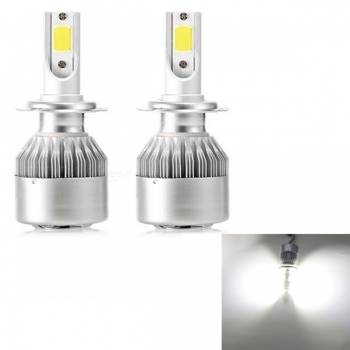 JRLED C6 H7 36W Cool White Ultra Bright LED Headlamp Headlight - DC 12~24V (2PCS)Headlights<br>Socket TypeH7ModelC6Quantity2 DX.PCM.Model.AttributeModel.UnitMaterialAluminium alloy+PCPower36 DX.PCM.Model.AttributeModel.UnitWorking VoltageDC12-24VConnectorH7Bulb SpecificationCOBBrightness3000LmColor BIN6000KApplicationHigh Beam Lamp,Low Beam LampSuitable forcurrencyCertificationCE ROHSOther Features1. with the original car lamp cup reflection, the light utilization rate increased by 50%, instant start. Special material to solve the heat heat problem at high temperature.<br><br><br>2.LED integrated design, non - destructive installation, easy installation.<br><br><br>3. directional pressurized air cooling system + high-speed mute fan forced heat dissipation, 6500 laps / minutes, extreme heat dissipation, effectively prolonging the life of the light source.<br><br><br>The 4. light source is used to customize the special COB light source, and the copper substrate is encapsulated with the light effect of 100LM/W.<br><br><br>5. energy saving design, 36W reaches 3000 lumen luminous flux, brighter than ordinary car lights, and more energy saving.<br><br>6.LED lighting, energy saving 60% than halogen lamp, brightness 2 times.<br><br><br>Integrated design of 7. far  light<br><br><br>8. lamps with special drive, effectively guarantee the brightness and life of the lamp.<br><br><br>9. the input voltage of the lamp: DC 12-24V<br><br><br><br>10.30000 hours of super long service life.Packing List2 x H7 LEDs1 x English Manual<br>