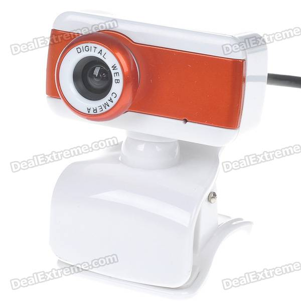 Compact 1.3MP PC USB 2.0 Webcam with Built-in Microphone (White + Orange)