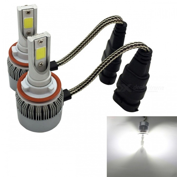 JRLED C6 H8 36W Cold White Ultra Bright Headlamp Light w/ Slient Fan Heat Dissipation (2 PCS / DC12-24V)