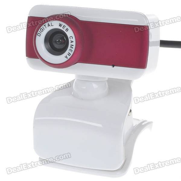 Compact 1.3MP PC USB 2.0 Webcam with Built-in Microphone (White + Red)