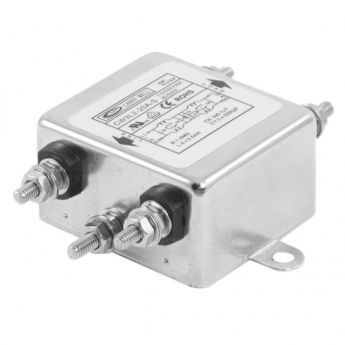 CW3L2-20A-S AC Power Single Phase EMI Line Filter, 115V/250V 20ADIY Parts &amp; Components<br>ColorSilverModelCW3L2-20A-SQuantity1 pieceMaterialMetalEnglish Manual / SpecNoCertificationNOPacking List1 x AC Power Line EMI Filter<br>