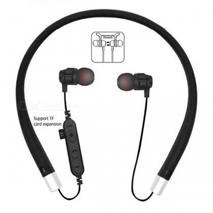 Cwxuan MS-T11 Bluetooth V4.2 Stereo Earphone, Neckband Headphone with Microphone, TF Slot for Cell Phones - BlackHeadphones<br>ColorBlackBrandCwxuanModelMS-T11MaterialABSQuantity1 DX.PCM.Model.AttributeModel.UnitConnectionBluetoothBluetooth VersionBluetooth V4.2Headphone StyleBilateral,In-Ear,NeckbandWaterproof LevelIPX0 (Not Protected)Applicable ProductsUniversalHeadphone FeaturesPhone Control,Long Time Standby,Magnetic Adsorption,Volume Control,With Microphone,Lightweight,For Sports &amp; ExerciseRadio TunerNoSupport Memory CardYesMemory Card SlotStandard TF CardSupport Apt-XYesChannels2.0Battery TypeLi-ion batteryBuilt-in Battery Capacity 65 DX.PCM.Model.AttributeModel.UnitStandby Time200 DX.PCM.Model.AttributeModel.UnitTalk Time6 DX.PCM.Model.AttributeModel.UnitMusic Play Time4 DX.PCM.Model.AttributeModel.UnitPacking List1 x Earphone1 x USB charging cable<br>