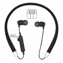 Cwxuan MS-T11 Bluetooth V4.2 Stereo Earphone, Neckband Headphone with Microphone, TF Slot for Cell Phones - Black