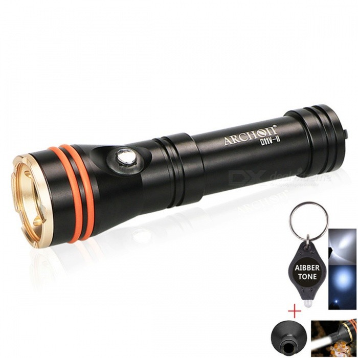 ARCHON D11V-II CREE XM-L2 U2 Sea Diving Flashlight with Beem TubeDiving Flashlights<br>BundlesFill Light Lamp + Beam TubeModelD11V-IIQuantity1 setMaterialDurable aircraft-grade aluminumEmitter BrandCreeLED TypeXM-L2Emitter BINU2Color BINWhiteNumber of Emitters1Theoretical Lumens1200 lumensActual Lumens12000 lumensPower Supply18650*1Working Voltage   4.5-2.8 VCurrent- ARuntime150 hoursNumber of ModesOthers,2Mode ArrangementHi,MidMode MemoryNoSwitch TypeReverse clickySwitch LocationHeadLens Material4 mm toughened glassReflectorNoWorking Depth Underwater100 mStrap/ClipStrap includedPacking List1 x D11V-II Diving flashlight1 x 10mm beam light tube1 x Hand Strap2 x O-Rings1 x Original box1 x AIBBER TONE led key chain<br>
