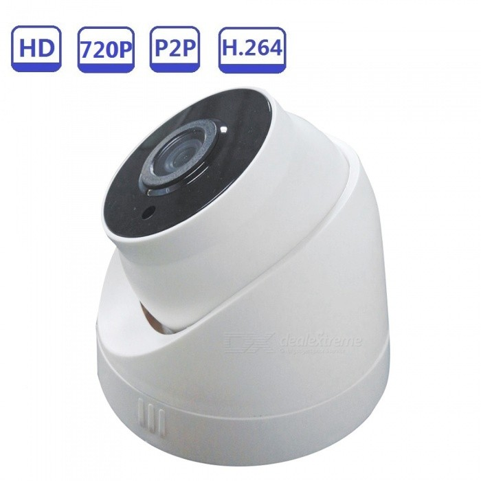Strongshine Night Vision IR 25m Dome ONVIF 1.0MP CCTV IP Camera for Home Security - WhiteIP Cameras<br>ColorWhiteModelST-IPCP1030D07RMaterialPlasticQuantity1 DX.PCM.Model.AttributeModel.UnitImage SensorCMOSLens3.6mmPixels720PViewing AngleOthers,80 DX.PCM.Model.AttributeModel.UnitVideo Compressed FormatH.264Picture Resolution720PFrame Rate25/30Minimum Illumination0.1 DX.PCM.Model.AttributeModel.UnitNight VisionYesIR-LED Quantity3Night Vision Distance25 DX.PCM.Model.AttributeModel.UnitNetwork ProtocolFTP,DHCP,NTP,DDNS,uPnP,PPPoE,TFTP,Others,RTSP/FTP/PPPOE/DHCP/DDNS/NTP/UPnPSupported BrowserIE 6.0 and aboveSIM Card SlotNoOnline Visitor10Mobile Phone PlatformAndroid,iOSFree DDNSYesIR-CUTYesBuilt-in Memory / RAMNoRotation Angle80Supported LanguagesEnglish,Simplified Chinese,Traditional Chinese,Brazilian,Russian,Portuguese,Spanish,Italian,Korean,French,Hebrew,German,Bulgarian,Swedish,Romanian,Others,Support  28 Multi-LanguagesIntercom FunctionNoPacking List1 x 1.0MP Dome IP Camera1 x User Manual1 x Warranty Card<br>
