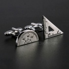 Charming Plating White Steel Cufflinks for Men - Protractor + Set Square (Pair)