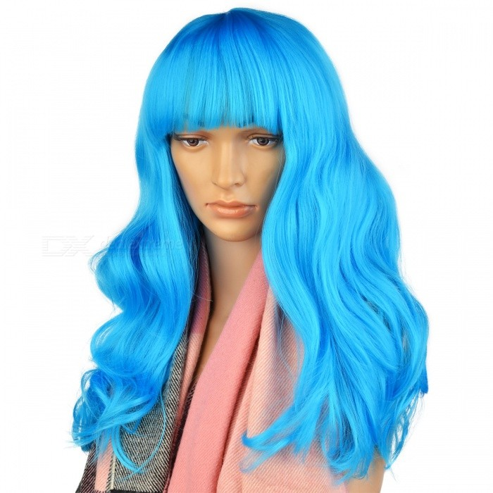 Fancy Charmy Synthetic Wig Long Curly Hair for Women, Lady - BlueStraight Short<br>ColorBlueMaterialGaowensiQuantity1 DX.PCM.Model.AttributeModel.UnitGenderWomenPacking List1 x Blue curled hair<br>