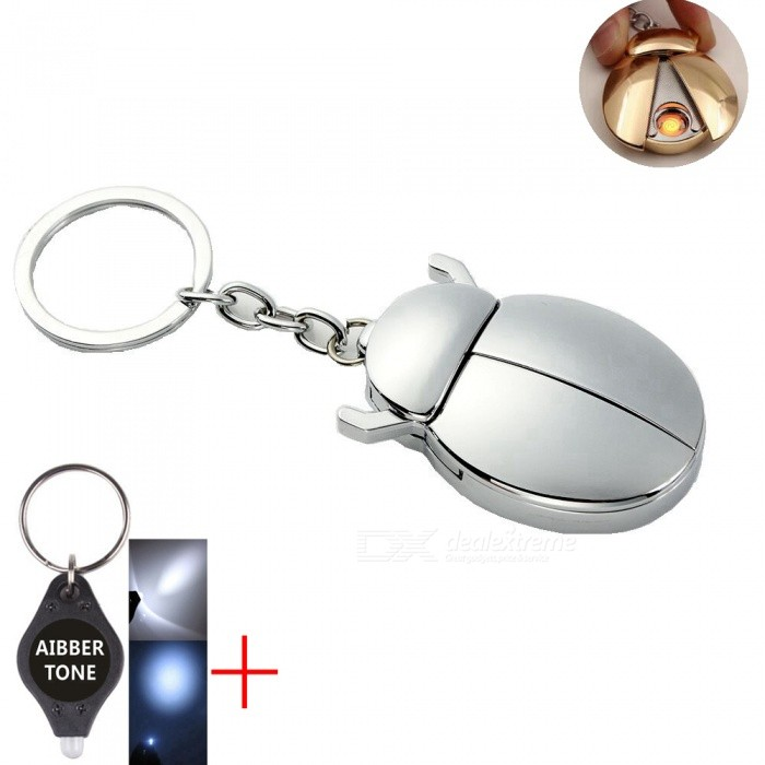 Windproof Metal Beetles Shape Electric USB Rechargeable Cigarette Lighter - SilverOther Lighters<br>ColorSilverMaterialMetalQuantity1 setShade Of ColorSilverTypeUSBPower SupplyPolymer lithium ion batteryCharging Time1~2 hoursPacking List1 x Cigarette lighter1 x Charging Cable1 x AIBBER TONE led key chain<br>