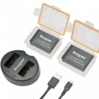Kingma 2 pack replacement lp-e17 battery and dual micro usb charger for canon eos t6i, t6s, 760d, 750d