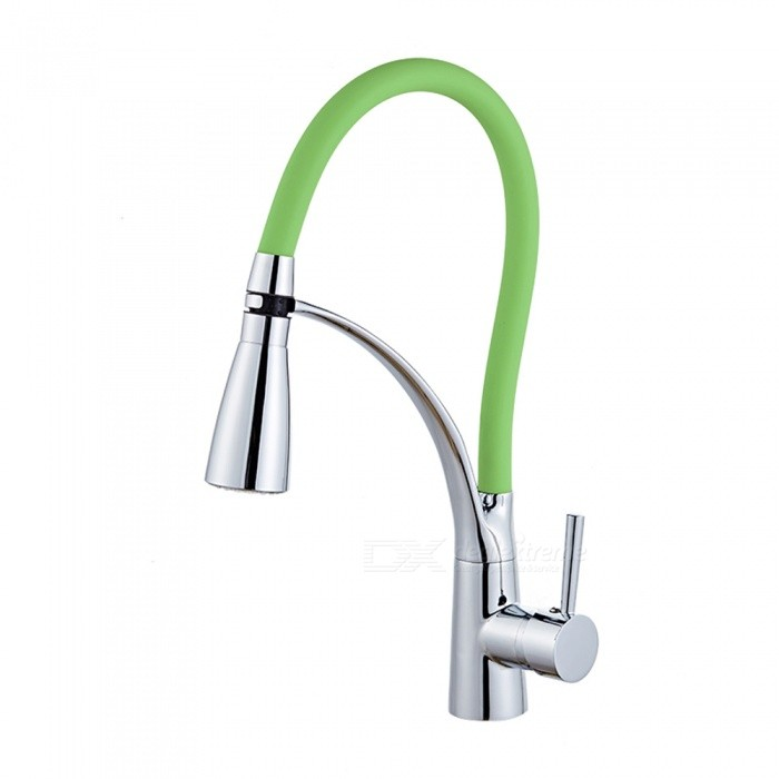 F-9091C LED RGB Brass Chrome 360 Degree Rotatable Ceramic Valve Single Handle One-Hole Kitchen FaucetKitchen Faucets<br>ColorGreenSizeNorth AmericaModelF-9091CMaterialBrassQuantity1 setFinishChromeValve TypeCeramic ValveNumber of handlesSingleSpout Height15 cmSpout Length20 cmTotal Height34.5 cmPacking List1 x Faucet2 x Stainless steel tubes (60cm)<br>