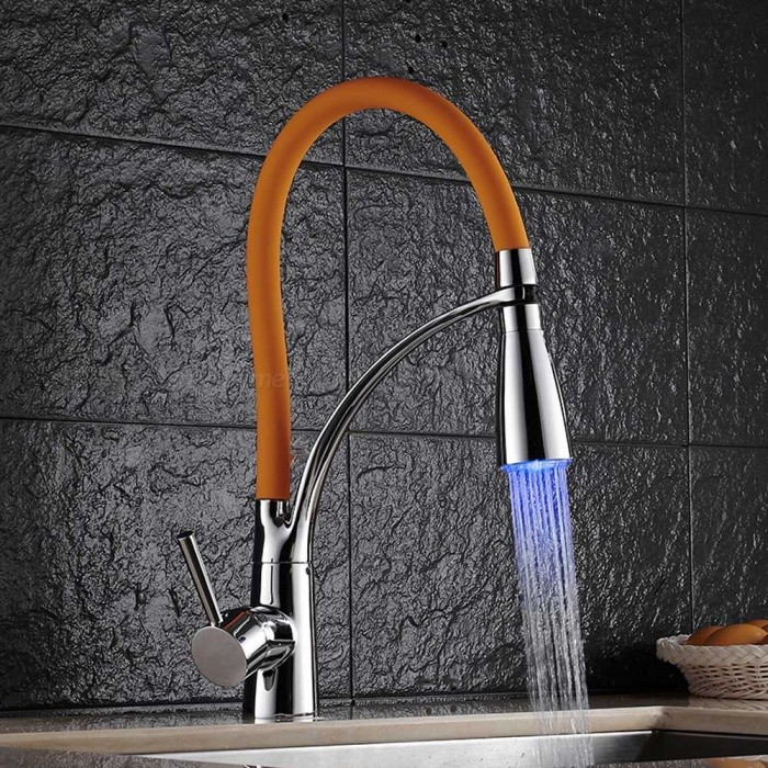 F-9091C LED RGB Brass Chrome 360 Degree Rotatable Ceramic Valve Single Handle One-Hole Kitchen FaucetKitchen Faucets<br>ColorOrangeSizeOther Regions/CountriesModelF-9091CMaterialBrassQuantity1 setFinishChromeValve TypeCeramic ValveNumber of handlesSingleSpout Height15 cmSpout Length20 cmTotal Height34.5 cmPacking List1 x Faucet2 x Stainless steel tubes (60cm)<br>