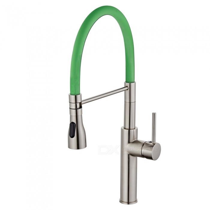 F-9112N Brass Brushed 360 Degree Rotatable Ceramic Valve Single Handle One-Hole Kitchen FaucetKitchen Faucets<br>ColorGreenSizeOther Regions/CountriesModelF-9112NMaterialBrassQuantity1 setFinishBrushedValve TypeCeramic ValveNumber of handlesSingleSpout Height19.5 cmSpout Length20 cmTotal Height52 cmPacking List1 x Faucet2 x Stainless steel tubes (60cm)<br>