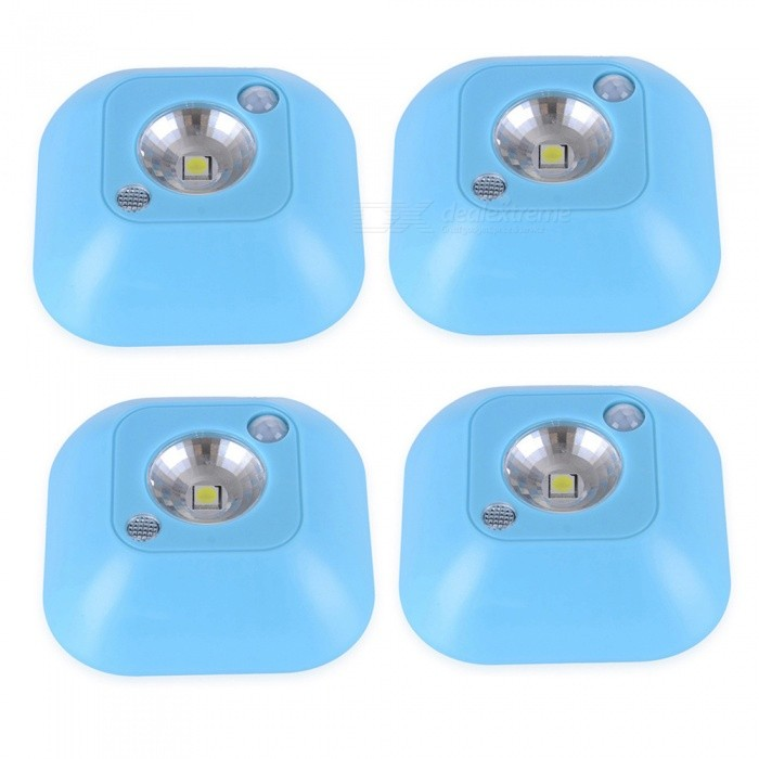 JIAWEN 4PCS Battery Powered LED Night Light Motion Sensor Adhesive Bedroom Lamp - BlueLED Nightlights<br>ColorBlueMaterialABSQuantity1 DX.PCM.Model.AttributeModel.UnitPowerOthers,0.5WRated VoltageOthers,4.5 DX.PCM.Model.AttributeModel.UnitColor BINCold WhiteChip BrandCreeEmitter Type5050 SMD LEDTotal Emitters1Theoretical Lumens45 DX.PCM.Model.AttributeModel.UnitActual Lumens45 DX.PCM.Model.AttributeModel.UnitColor Temperature12000K,Others,6000-6500KDimmableNoInstallation TypeWall MountPacking List1 x LED Night Light (Batteries Not Included)<br>