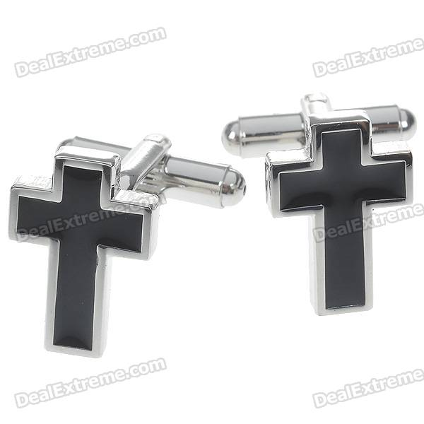 Charming Plating White Steel Cufflinks for Men - Black Cross (Pair)
