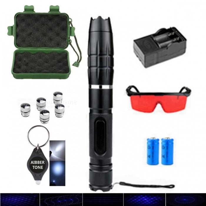 AIBBER TONE Super Powerful 450nm Blue Laser Pointer with 5Pcs Star Caps + Battery + Charger + BoxLaser Pointer<br>ColorBlackQuantity1 setMaterialAviation alloy steelLaser Power5 mWWave Length450 cmLaser ColorOthers,BlueWorking Voltage   7.4 VBattery2 x 16340 BatteriesPacking List1 x Laser Pointer5 x Metal Light Heads2 x 16340 Batteries1 x Plug Charger1 x Goggles1 x AIBBER TONE led key chain1 x Portable Box<br>