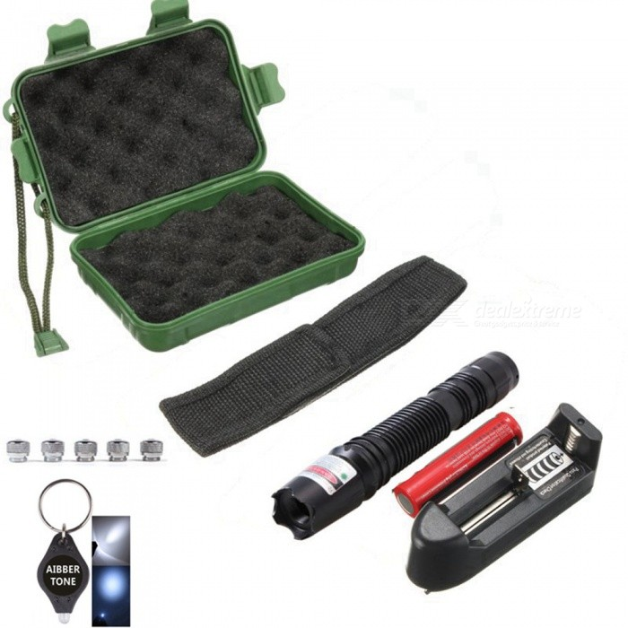 AIBBER TONE Green Laser Pen Pointer with 18650 Battery and Charger + Laser Pen Bag+ 5Pcs Star Caps, LED Keychain, Box - BlackLaser Pointer<br>ColorBlackModel019Quantity1 DX.PCM.Model.AttributeModel.UnitMaterialCopper, AluminumLaser Power&gt;5 DX.PCM.Model.AttributeModel.UnitWave Length532 DX.PCM.Model.AttributeModel.UnitLaser ColorGreenWorking Voltage   3.7 DX.PCM.Model.AttributeModel.UnitBattery1x18650Packing List1 x Laser pointer 1 x 18650 Battery1 x Charger 5 x Star caps1 x Laser Pen Bag1 x AIBBER TONE led key chain1 x Box<br>