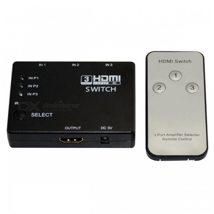 Dayspirit 3-Port 1080P Video HDMI Switcher w/ IR Remote for HDTV PS3 DVD - BlackAV Adapters And Converters<br>ColorBlackModelN/AMaterialABSQuantity1 DX.PCM.Model.AttributeModel.UnitConnectorHDMIPacking List1 x HDMI Switcher1 x Remote Controller<br>