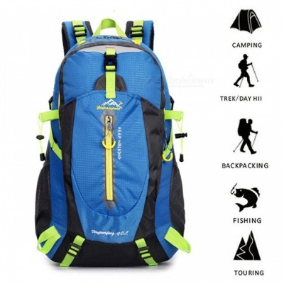 Portable Durable 40L Waterproof Camp Hike Trekking Climb Travel Backpack - Blue