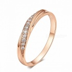 ZHOUYANG Simple Cubic Zirconia Lovers Rose Gold Color Wedding Ring Jewelry Full Sizes Elegant Stylish Ring Rose Gold/6