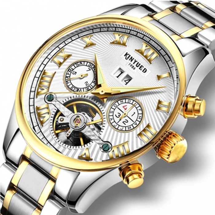 a8dca4b06815 KINYUED Business Mechanical Watches Mens Skeleton Tourbillon Automatic  Watch Men Gold Steel Calendar Waterproof Relojes Hombre White Silver Band -  Free ...
