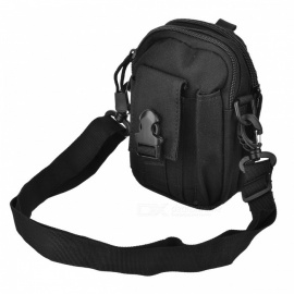 Multipurpose Sports Fashion Zippered Dual Compartment Bag with Waist Belt - Black