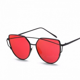 WISH CLUB cat eye shape UV400 chic dames zonnebril, twin-beam rose spiegel lens dames zonnebril eyewear zwart W rood