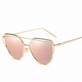 WISH CLUB Cat Eye Shape UV400 Chic Women's Sunglasses, Twin-Beam Rose Mirror Lens Female Sun Glasses Eyewear gold W pink 1