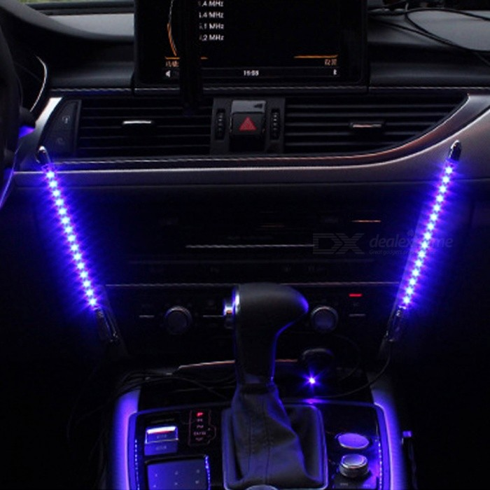 zhaoyao 2 piece sound controlled 12v car interior decorative led light bar free shipping. Black Bedroom Furniture Sets. Home Design Ideas