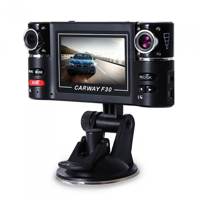 OJADE F30 2.7 TFT LCD HD 1080P Rotated Dual Lens Dash Camera, Vehicle Car DVR Digital Video Recorder Camcorder w/ Night VisionCar DVRs<br>ColorBlackModelF30Quantity1 DX.PCM.Model.AttributeModel.UnitMaterialMetalChipsetOthersOther FeaturesOthersWide Angle120°-149°Camera PixelOthersVideo ResolutionOthersImagesJPEGStill Image ResolutionOthersMicrophoneYesG-sensorNoStorage ExpansionTFData interfaceMicro USBMenu LanguageOthersPacking List1 x Camera<br>