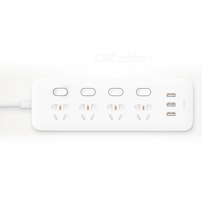 New Xiaomi Mijia Smart Power Strip w/ 4 Sockets, 4 Individual Control - WhitePlugs &amp; Sockets<br>ColorWhiteModelExtension cord socket (with power adapter)Quantity1 DX.PCM.Model.AttributeModel.UnitMaterialFlame retardant polycarbonateFireproof MaterialNoRate Voltage100-240V~50/60Hz0.5ARated Current100-240V~50/60Hz 0.5 DX.PCM.Model.AttributeModel.UnitRated Power15.5 DX.PCM.Model.AttributeModel.UnitCompatible PlugOthers,USBAustralian regulations plugsGroundingNoWith Switch ControlYesSurge Protection FunctionYesLightning Protection FunctionYesWith FuseYesPower AdapterOthers,Australian regulations plugsPacking List1 x Patch panel1 x Manual (Simplified Chinese)<br>