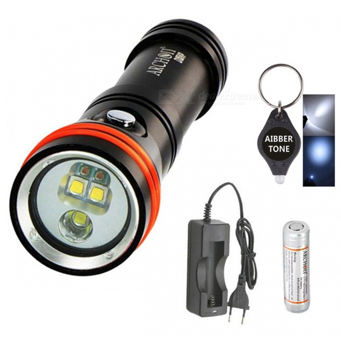 ARCHON D15VP White Red CREE LED 1300 Lumens 110 / 30 Degree 100m Diving Flashlight Video Spot Light with Battery + ChargerDiving Flashlights<br>ColorWith Battery + ChargerModelD15VPQuantity1 DX.PCM.Model.AttributeModel.UnitMaterialDurable aircraft-grade aluminumEmitter BrandCreeLED TypeXM-L2Emitter BINU2Color BINRed,WhiteNumber of Emitters5Theoretical Lumens1300 DX.PCM.Model.AttributeModel.UnitActual Lumens1300 DX.PCM.Model.AttributeModel.UnitPower Supply18650*1Working Voltage   4.5-2.8 DX.PCM.Model.AttributeModel.UnitCurrent- DX.PCM.Model.AttributeModel.UnitRuntime- DX.PCM.Model.AttributeModel.UnitNumber of Modes3Mode ArrangementHi,Mid,LowMode MemoryNoSwitch TypeReverse clickySwitch LocationHeadLens MaterialTempered glassReflectorNoWorking Depth Underwater100 DX.PCM.Model.AttributeModel.UnitStrap/ClipStrap included,Clip includedPacking List1 x Archon D15VP flashlight1 x Archon 18650 2600mah Battery1 x Battery charger1 x Hand Strap2 x Spare Orings1 x Manual1 x AIBBER TONE led key chain<br>