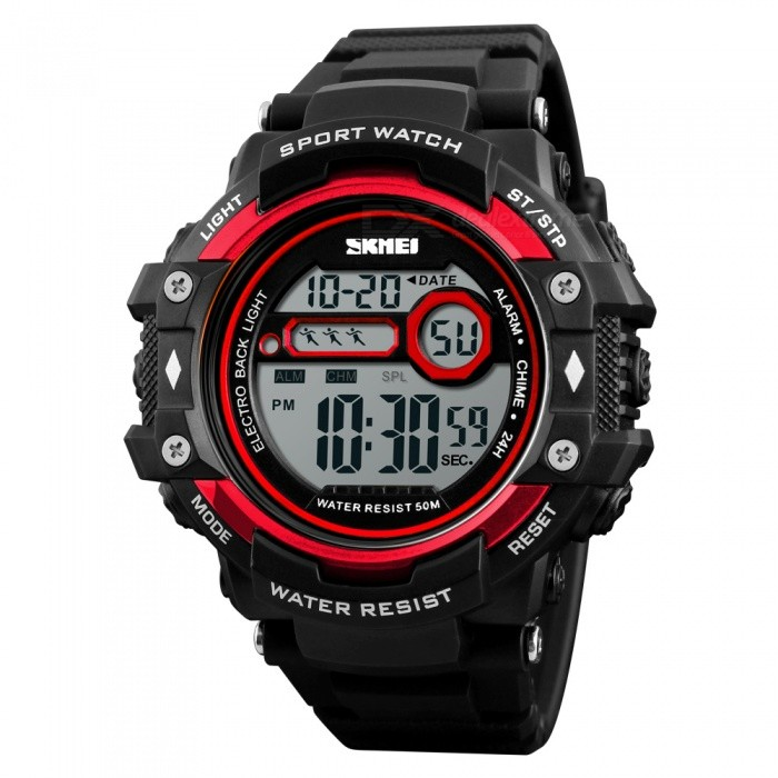 SKMEI 1325 50m Waterproof Mens Digital Sports Watch - RedSport Watches<br>ColorRedModel1325Quantity1 DX.PCM.Model.AttributeModel.UnitShade Of ColorRedCasing MaterialABSWristband MaterialPUSuitable forAdultsGenderMenStyleWrist WatchTypeCasual watchesDisplayDigitalBacklightEL LightMovementDigitalDisplay Format12/24 hour time formatWater ResistantWater Resistant 5 ATM or 50 m. Suitable for swimming, white water rafting, non-snorkeling water related work, and fishing.Dial Diameter5.3 DX.PCM.Model.AttributeModel.UnitDial Thickness1.6 DX.PCM.Model.AttributeModel.UnitWristband Length27 DX.PCM.Model.AttributeModel.UnitBand Width2.2 DX.PCM.Model.AttributeModel.UnitBatteryCR2032Packing List1 x SKMEI 1325 Watch<br>