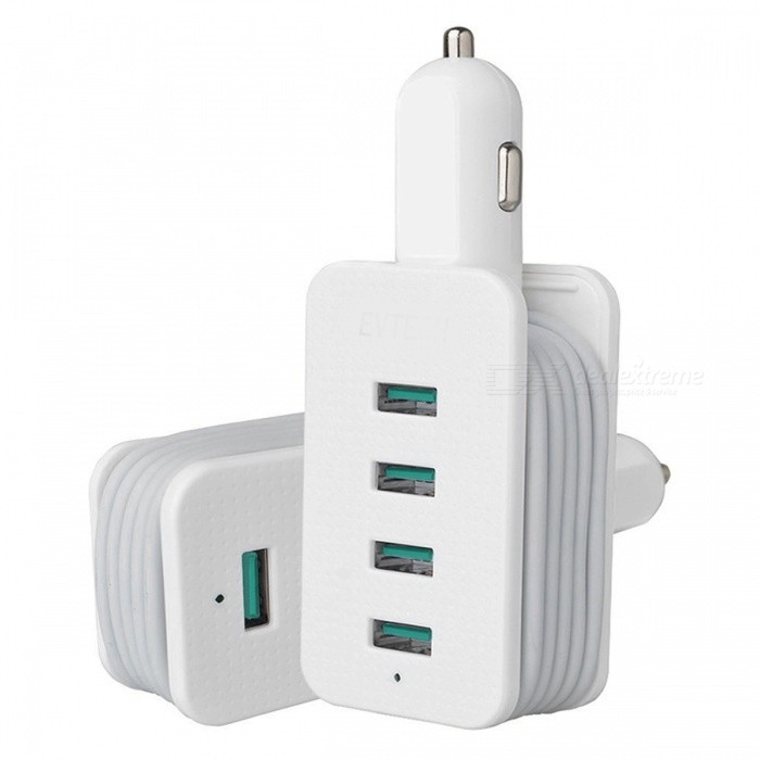 ZHAOYAO Universal Portable Smart Multi 4-Port USB Car Charger for All Smartphones, Tablets - White