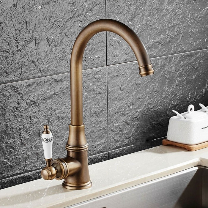 Antique Brass 360 Degree Rotatable Ceramic Valve Single Handle One-Hole Kitchen FaucetKitchen Faucets<br>ColorAntique BrassSizeNorth AmericaModelF-9098AMaterialBrassQuantity1 DX.PCM.Model.AttributeModel.UnitFinishAntique BrassValve TypeCeramic ValveNumber of handlesSingleSpout Height23 DX.PCM.Model.AttributeModel.UnitSpout Length19.5 DX.PCM.Model.AttributeModel.UnitTotal Height32 DX.PCM.Model.AttributeModel.UnitPacking List1 x Faucet2 x Stainless steel tubes (60cm)<br>