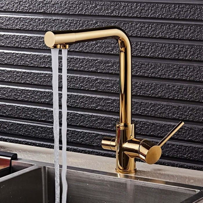 F-9051G Brass Ti-PVD 360 Degree Rotatable Ceramic Valve Two Handles One-Hole Kitchen Faucet with Water Purification FeatureKitchen Faucets<br>ColorGoldSizeOther Regions/CountriesModelF-9051GMaterialBrassQuantity1 DX.PCM.Model.AttributeModel.UnitFinishOthers,Titanium alloyValve TypeCeramic ValveNumber of handlesDoubleSpout Height28.5 DX.PCM.Model.AttributeModel.UnitSpout Length22 DX.PCM.Model.AttributeModel.UnitTotal Height32 DX.PCM.Model.AttributeModel.UnitPacking List1 x Faucet3 x Stainless steel tubes (60cm)1 x Quick installation connector for 1/4inch tubing<br>