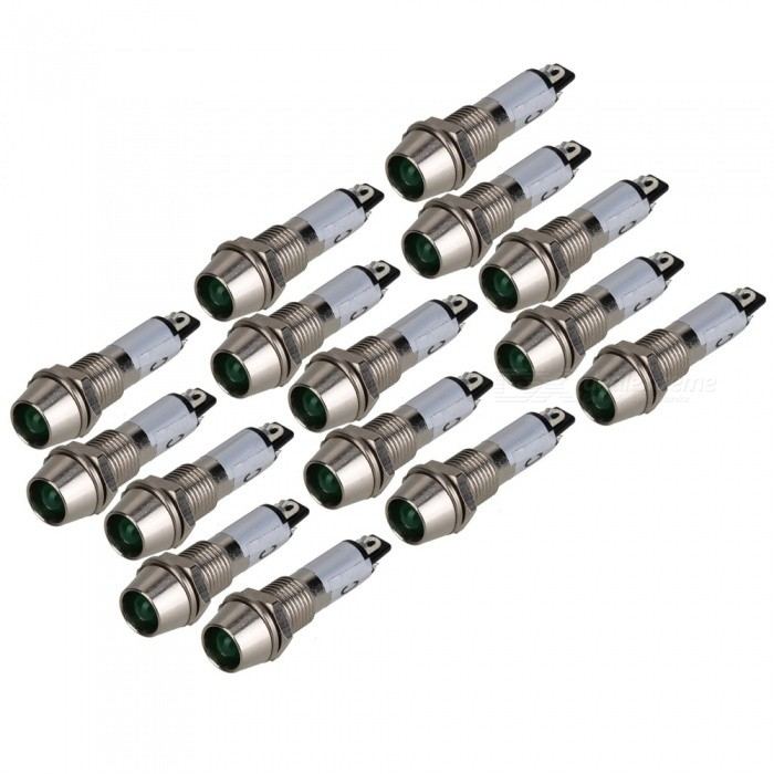 RXDZ 15Pcs AC/DC 24V Green LED Metal Indicator Pilot Dash Light, Signal LampDIY Parts &amp; Components<br>ColorSilver (15 PCS) Quantity15 DX.PCM.Model.AttributeModel.UnitMaterialPlastic, electronic componentsEnglish Manual / SpecNoCertificationNOPacking List15 x Indicator lights<br>