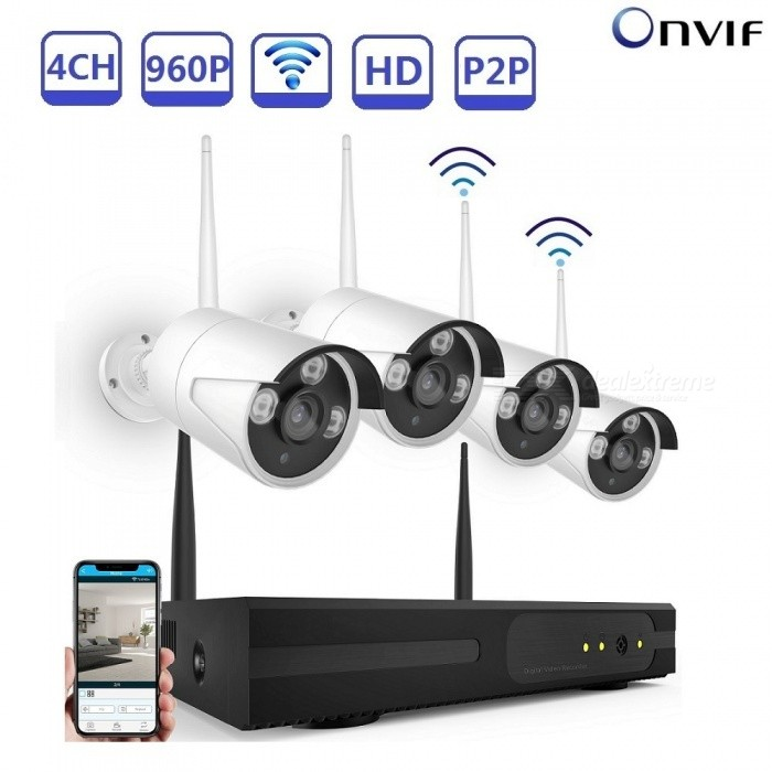 Strongshine Security Camera System Wireless 4CH 1.3MP WiFi CCTV Cameras Set for Home Surveillance Built in Router - UK PlugNVR Cards &amp; Systems<br>ColorSilverPower AdapterUKModelST-NVR9004A1-K1WKITS-1.3MPMaterialMetalQuantity1 DX.PCM.Model.AttributeModel.UnitSystem ResourcesMulti-channel real-time recording synchronously,Multi-channel real-time playback,USB back upOperating SystemWindows 7,Android 3.0,Android 3.1,Android 3.2,Android 4.0,Linux,Windows 8,iOSRemote MonitoringNoPower AdaptorYesPower SupplyOthers,DC12VMobile Phone PlatformAndroid,iOSWorking Temperature-20~50 DX.PCM.Model.AttributeModel.UnitWorking Humidity10%~90%Video StandardsH.264Decode FormatH.264Multi-mode Video InputWIRELESS OR WIREDMotion DetectionYesAudio Compression FormatAACAudio Input4 channelsAudio  Output1 ChannelVideo Input4 channelsVideo Output4 channelsMonitor Quality4CH*720P or 4CH*960PPlayback Quality1CH*720P or 1CH*960PEncode CapabilityH.264Decode CapabilityH.264Record ModeManual,Motion Detection,TimingVideo SearchTime,Date,Channel SearchStorageNoVideo StorageLocal HDD,NetworkBack up ModeNetwork backup,USB portable,HDDUSBUSB 2.0HDD PortSATAPacking List1. 1* WIFI 4CH Wireless NVR2. 1* Power supply for NVR3. 1* Mouse for NVR 4. 4* 960P WIFI IP Camera5. 4* Power supply for WIFI IPC6. 1* User manual of NVR7. Screw and other parts<br>
