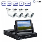 Strongshine 4ch 7 inch 1080n cctv dvr compatible ahd tvi cvi cvbs real time video recorder kit with 720p ahd cameras - uk plug